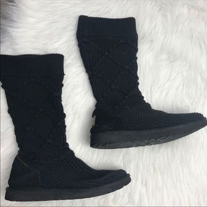 UGG black classic argyle knit tall boots 8